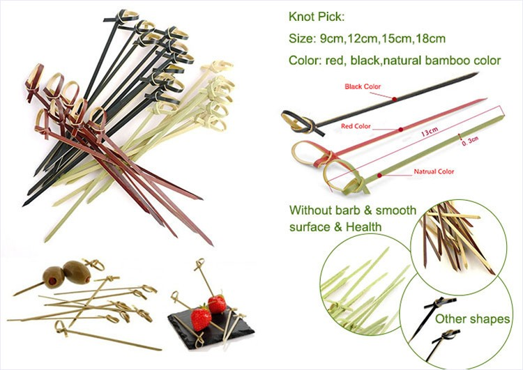 Twisted knotted colored natural bamboo skewers and toothpicks
