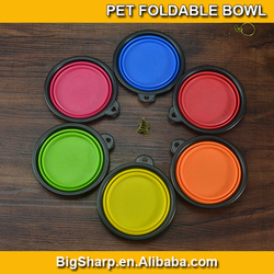 Colourful Folding Silicone pet bowl for cat dog pet travelling Collapsible pet Foldable dog bowl easy go with it outdoor