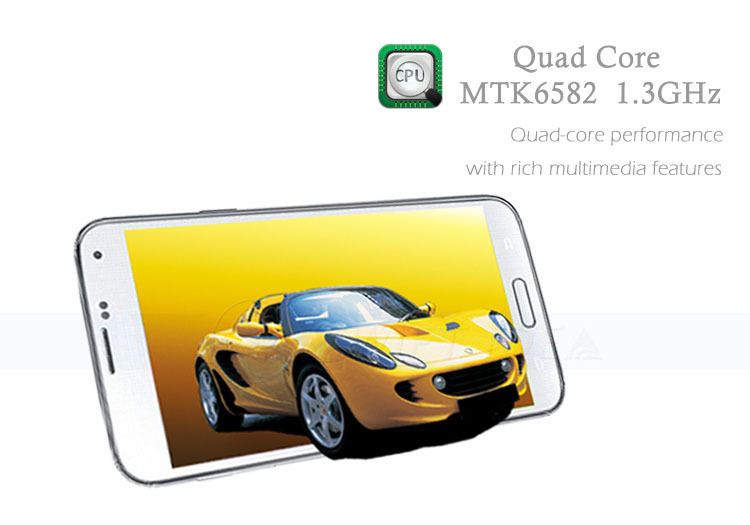 5 inch touch screen MTK6582 quad core android 4.4 dual camera unlocked cell phone