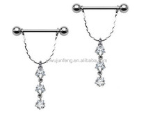 Dangle Cz Stars Clear Gems Nipple Necklace Rings Shields 14g Pair