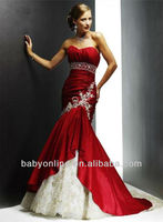 Best Selling Sweetheart Long Red Mermaid Lace Wedding Dresses 2013 Bridal Party Gowns