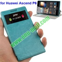 Crazy Horse Pattern Horizontal Flip Stand Leather flip case for huawei ascend p6 With Call Display ID Function