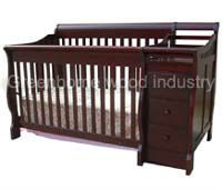 Wooden baby convertible crib with changer