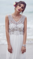 Hot sale v neck cap sleeve beaded white long chiffon mother of the bride beach wedding dress