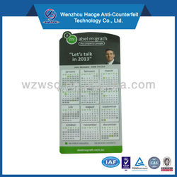 High quality advertising paper calendar fridge magnet