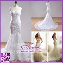 Real Sample Glamorous Sweetheart Luxury Beaded Lace Mermaid Wedding Dress 2015
