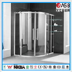 with glass shelf 8mm Tempered Glass back wall shower cabin