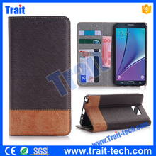 Splicing Color Wallet Style Side Brown Flip Leather Case for Samsung Galaxy Note 5 N9200 ,No MOQ,Paypal Accepted