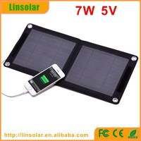 CE ROHS 7W USB 5V Portable Flexibility Folding solar cell phone charger