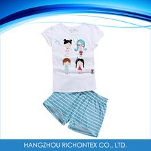 100% venta al por mayor del algodón de verano los niños conjuntos de pijamas