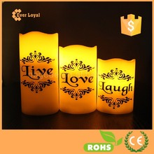 """""""LOVE LIVE LAUGH"""" Printed Votive Candle Set Nature Flameless Candle LED With Wavy Edge led christmas lights"""