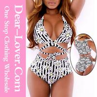 Wholesale sexi xxxl 2pcs Daisy Print High-waisted Bikini Swimsuit