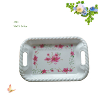 """14""""rectangular Melamine serving tray with string edged handle"""