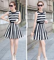 high end fashion black and white stripe sundress