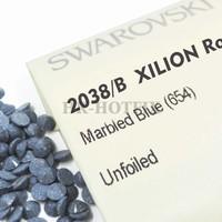 Wholesales 100% Genuine SWAROVSKI Elements ss8 Marbled Blue (654) Iron On Bulk Sale Hotfix Rhinestones