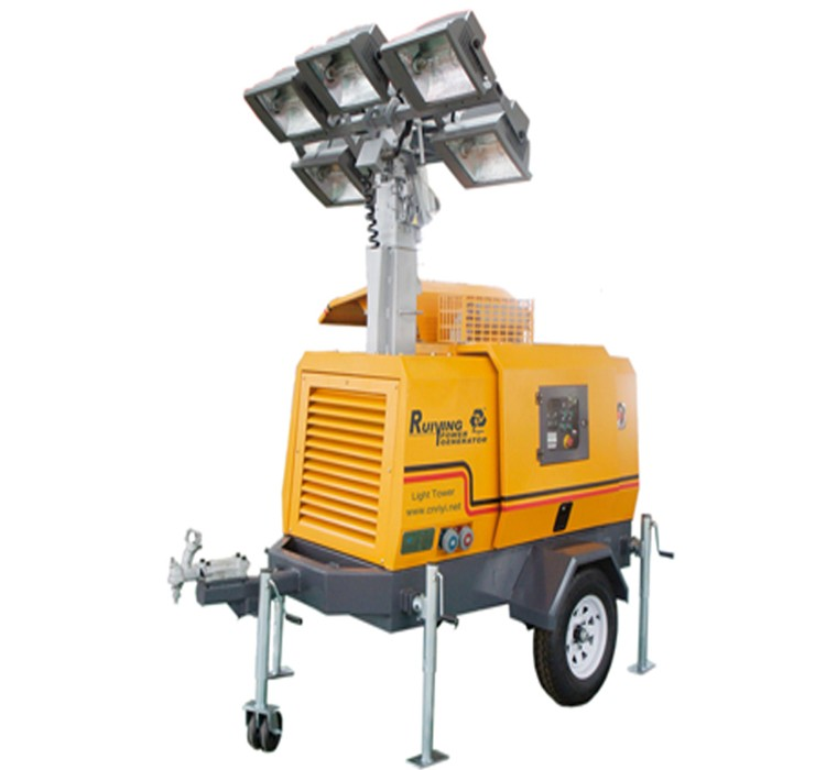 Light Tower 8kw Trailer Type Diesel Generator With 4