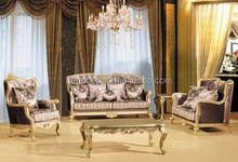 S2177 Champagne silver wooden sofa set, luxury sofa sets,sofa set new design