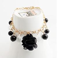 2015 new flower Cloth art braceletcrystal chain link flower bracelet bangle L1191