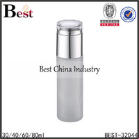 30 / 60 / 80ml silver cap glass bottle with pump wholesale