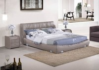 2015 New DEsigns Modern Noble Grey Leather Bed Room Furniture