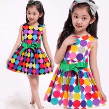 tan1018 Summer 2014 new European high quality kids dress princess sleeveless Polka Dot girls Dress