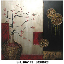 Stylish handmade rose flower oil painting picture on canvas, european style