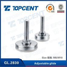 Silver and white furniture leveling feet for adjustable furniture levelers