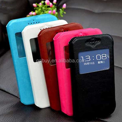 Pu leather + silicone window view universal phone cover rotating 360 degree