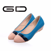 Made In China Low heel Blue PU Lady Flat Shoes Manufacturer