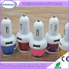 Creative high speed 5V rose flower car charger factory direct fashion led USB car charger