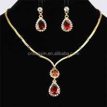 Gold Bridal Jewelry Ruby Rhinestone Necklaces Set
