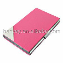 Pink Leather Stainless steel Metal Business Card Case Women