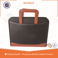 Cheap leather portfoilo bag, high quantity leather office briefcase, custom portfoilo