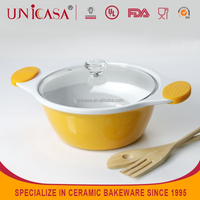 UNICASA Stocked ceramic Soup pot Milk Pot bakeware bowl with handle