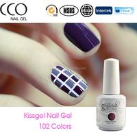 2015 hot sale high quality Kissgel kiss nail 15ml UV nail Gel Polish sparkle uv glitter gel drying gel nails