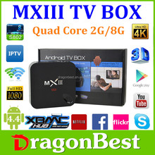 100% Original MXIII Android 4.4 4K Kitkat Amlogic S802 Quad-Core MXIII TV BOX 2GB/8GB Google MX3 2.4/5GHz Dual Brand WIFI