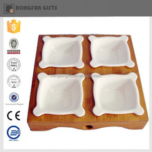 unique 4 in one ceramic sauce plate with wood tray