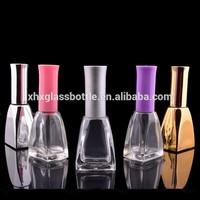 2015 trendy design custom made electroplated uv gel 13ml empty glass nail polish bottles with cap brush