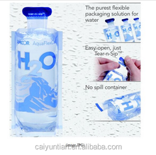 customized bottle shape drinking water plastic pouch bag