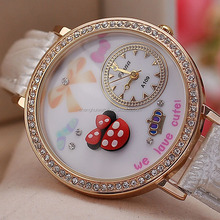 hot selling polymer clay kid's watch with leather bands quartz watch