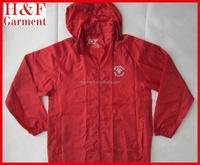 Garments buyer for stock lot red windbreaker jacket hidded hood