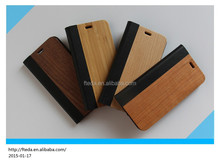 2015 New design wood flip leather case for iphone 6