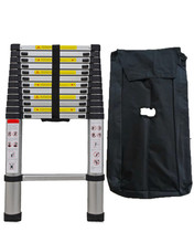 Folding step climb aluminum telescopic style ladder extension and heavy duty carry bag (380 certimeter)
