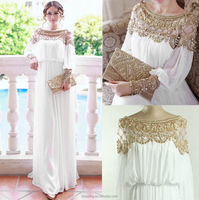 2015 Floor length heavy beaded special occasion sleeve formal chiffon evening dress BY5200