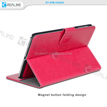 for ipad mini retina book cover detachable, magnet closure leather cover for iPad mini retina stand