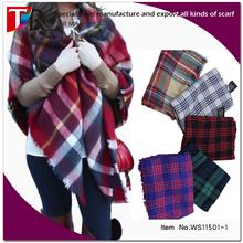 Thicken winter warm lady fashion tartan plaid scarf blanket shawl