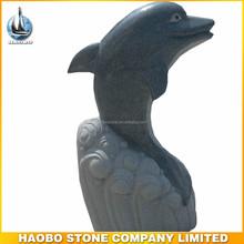 Natural Dark grey granite animal sculpture dolphin