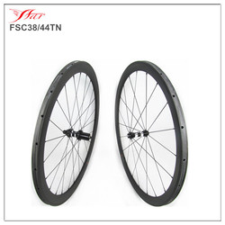 FSC38/44TN carbon tubular rims 38mm front 44mm rear bicycle wheels 20.5, 20H/24H built with Sapim spokes black