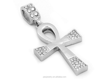 White gold plated Egyptian AAA cubic zircon 925 sterling silver ankh pendant