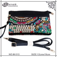 New fashion multifunction embroidery canvas shoulder bag with PU strap and clutch with flower pattern for women